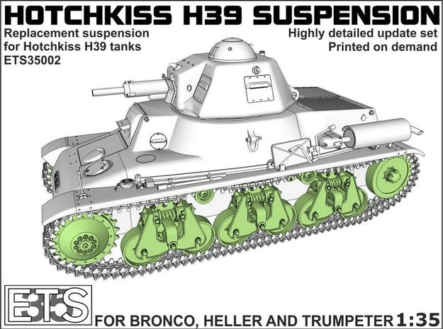 ETS35002 Hotchkiss H39 running gear in Smooth Fine Detail Plastic
