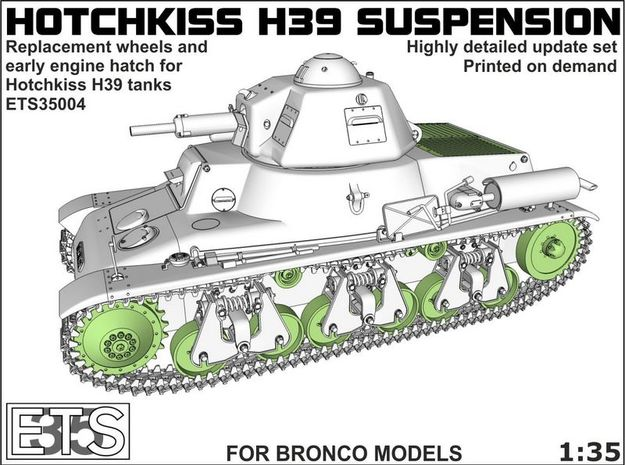 ETS35004 Hotchkiss H39 wheels + early engine hatch in Frosted Ultra Detail