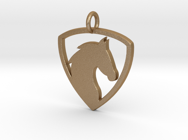 Horse Head V1 Pendant in Matte Gold Steel