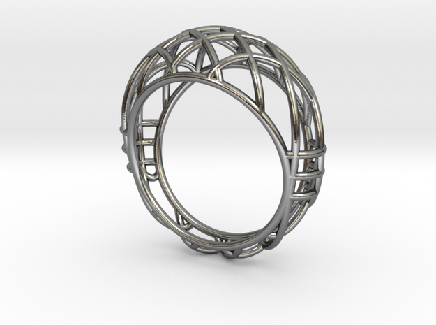 Cage Ring in Polished Silver