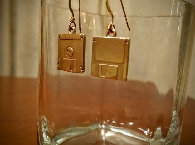 3 1/2 inch Floppy Disk Earrings in Polished Brass