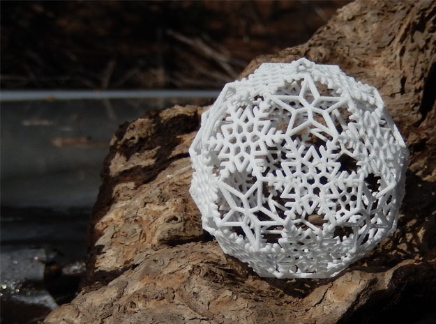 Snowflakes with Stars 2 in White Natural Versatile Plastic