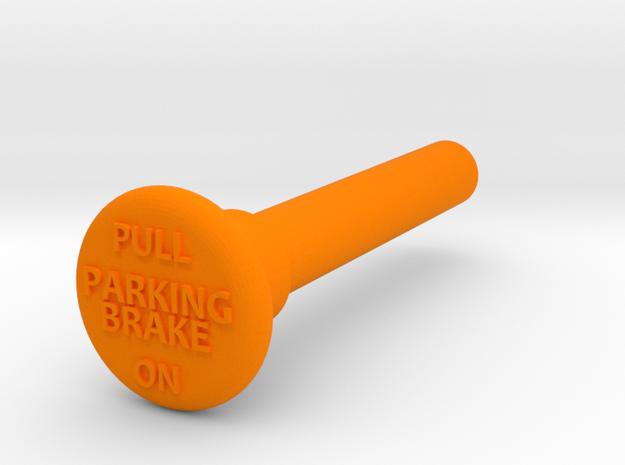 Parking Brake Knob W Text in Orange Strong & Flexible Polished