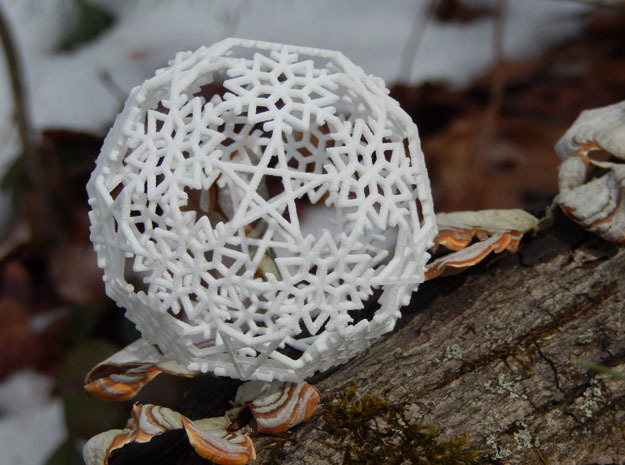 Snowflakes with Stars 3 in White Natural Versatile Plastic