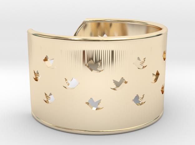 Bird Bracelet L Ø68 Mm/2.677 inch in 14k Gold Plated Brass