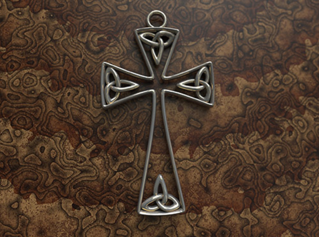 Trinity Celtic Cross in Polished Bronzed Silver Steel