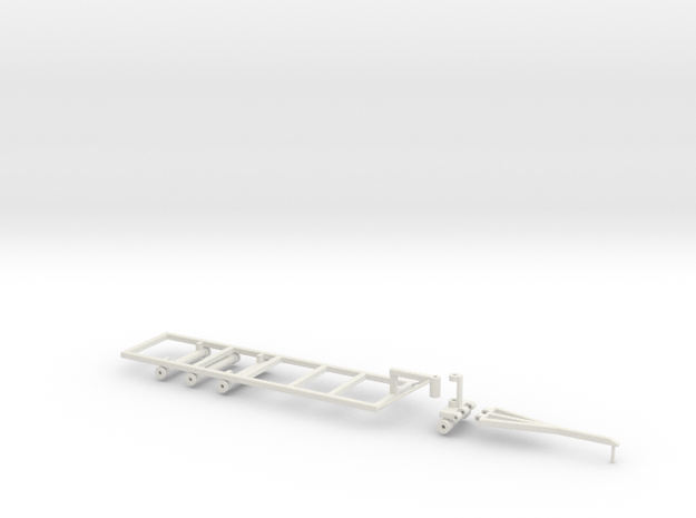 1/64 30' Double Header Trailer- Frame and Hitch in White Natural Versatile Plastic