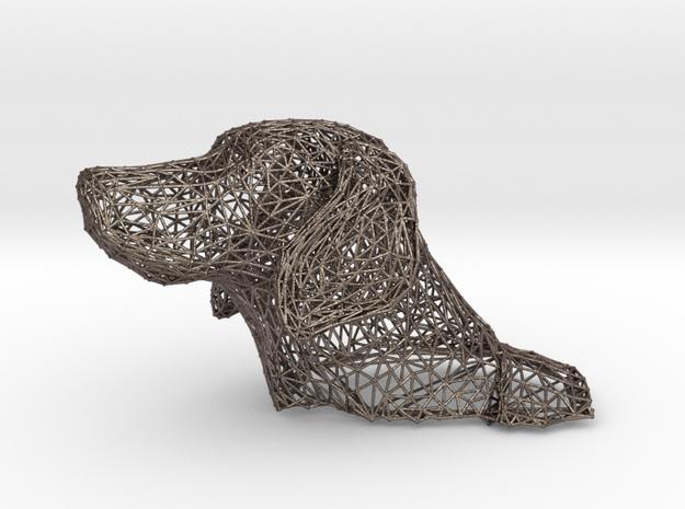 Wireframe Dog head Weimaraner in Stainless Steel