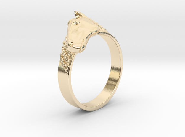 Horse ring in 14K Yellow Gold