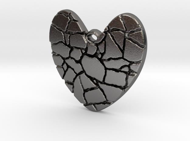 Broken heart pendant in Polished Nickel Steel