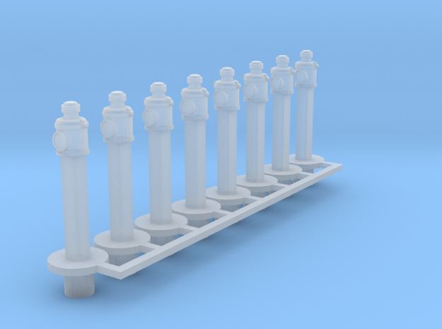 7mm Scale Clearance Posts & Lamps x 8 in Smooth Fine Detail Plastic