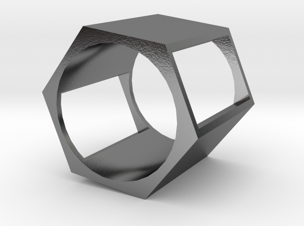 Hex Square Chop Ring in Polished Silver
