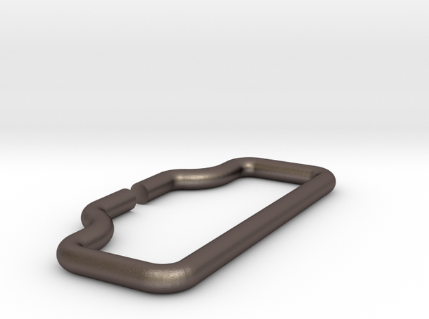 Belt Buckle Loop in Polished Bronzed Silver Steel