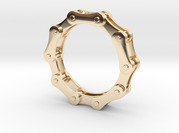 Bicycle Chain Ring. US Size 7 in 14k Gold Plated