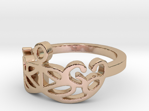 Yoga Glee Design Size 6 in 14k Rose Gold Plated Brass