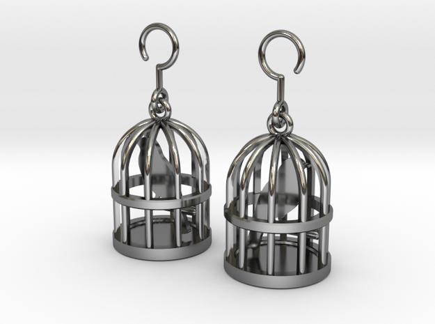 Birdcage Earrings in Fine Detail Polished Silver