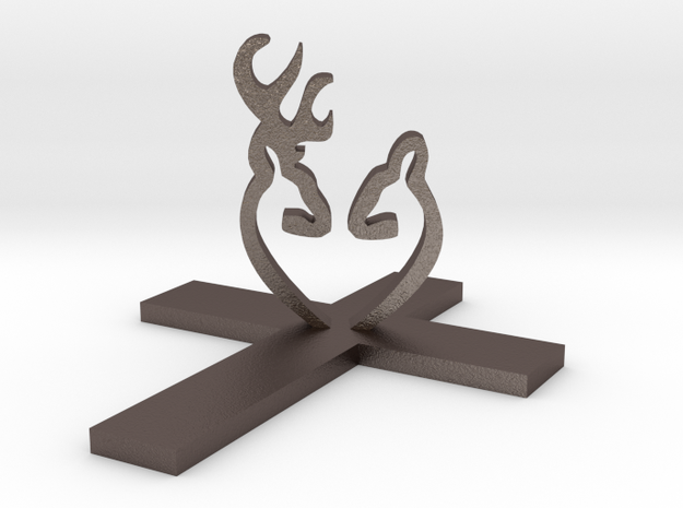 Cross&Deer Small in Polished Bronzed Silver Steel