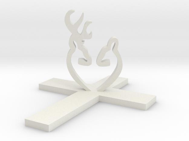 Cross & Deer Large in White Strong & Flexible