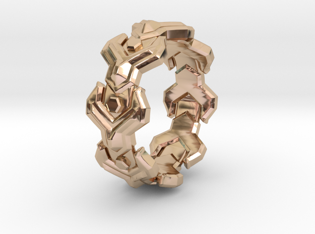 Yplus LINK Ring Size 10.5 in 14k Rose Gold Plated Brass