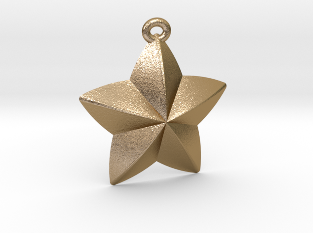 Star Pendant in Polished Gold Steel
