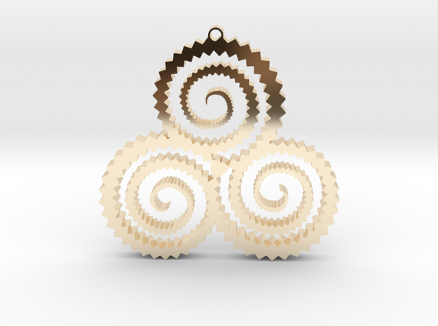 TriSwirl Pendant in 14k Gold Plated Brass