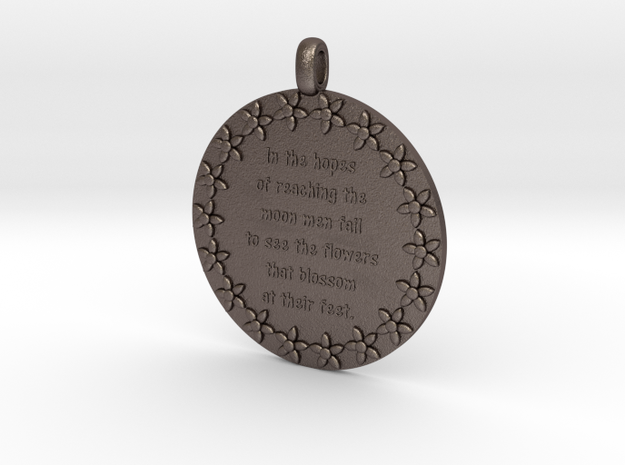 In The Hopes Of Reaching | Jewelry Quote Necklace in Polished Bronzed Silver Steel