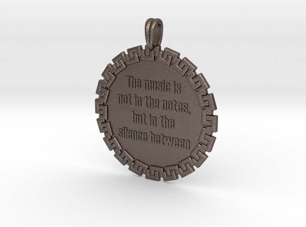 The Music Is Not In The | Jewelry Quote Necklace in Polished Bronzed Silver Steel