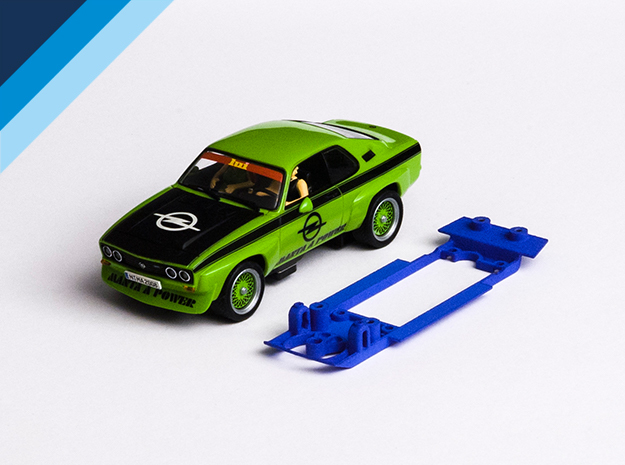 1/32 Carrera Opel Manta Chassis for Slot.it pod in Blue Processed Versatile Plastic