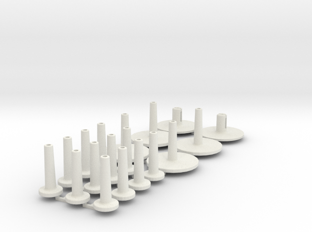 Pole Fittings for Carbon rods. in White Natural Versatile Plastic