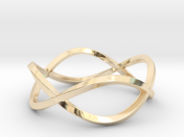Size 9 Infinity Twist Ring in 14k Gold Plated Brass