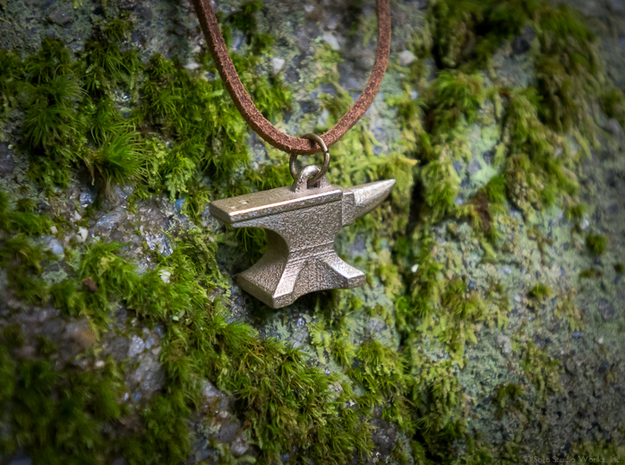 Anvil Pendant 3d printed Stainless Steel