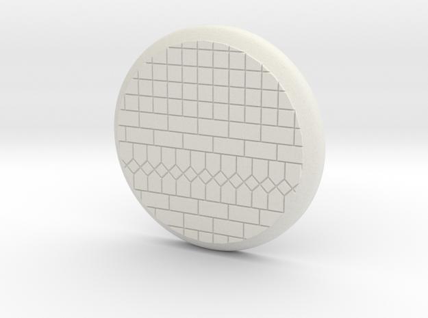 28mm Base - Tiled floor  in White Natural Versatile Plastic
