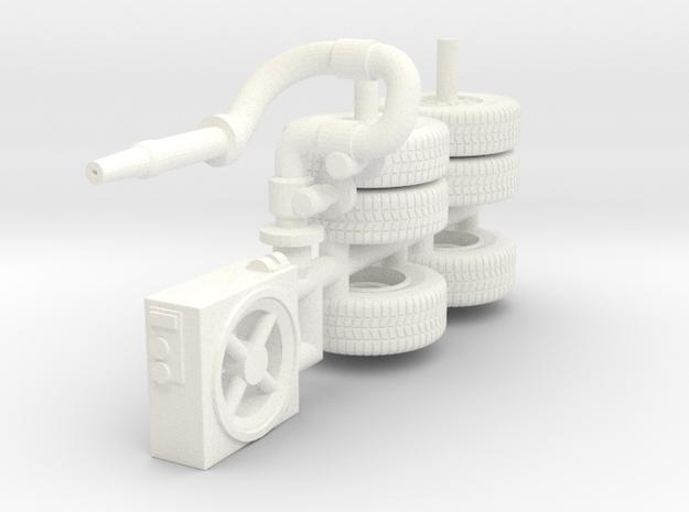 1/87 Super Pumper ALF satellite parts and wheels  in White Processed Versatile Plastic