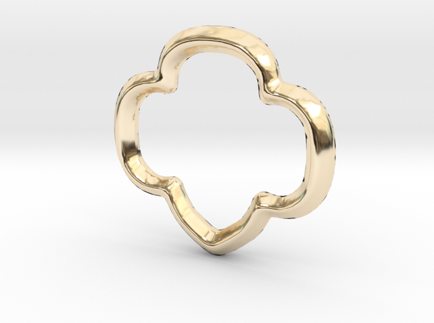 Trefoil Charm - 11mm in 14K Yellow Gold