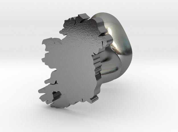 Cork Cufflink in Polished Silver