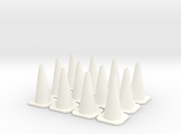 Traffic Cones 01. 1:24 scale in White Strong & Flexible Polished
