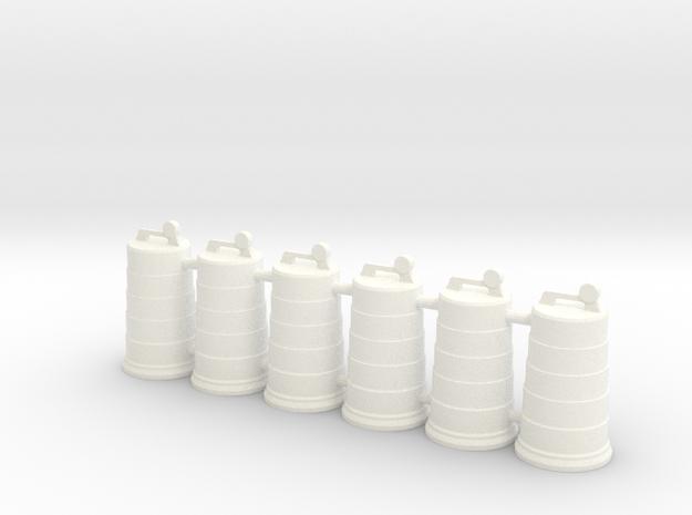 Traffic Drum 01. 1:24 Scale in White Processed Versatile Plastic