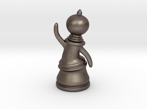 Waving Pawn in Stainless Steel
