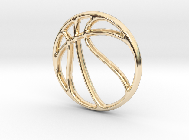 Basketball Pendant/Charm - 16mm in 14K Yellow Gold