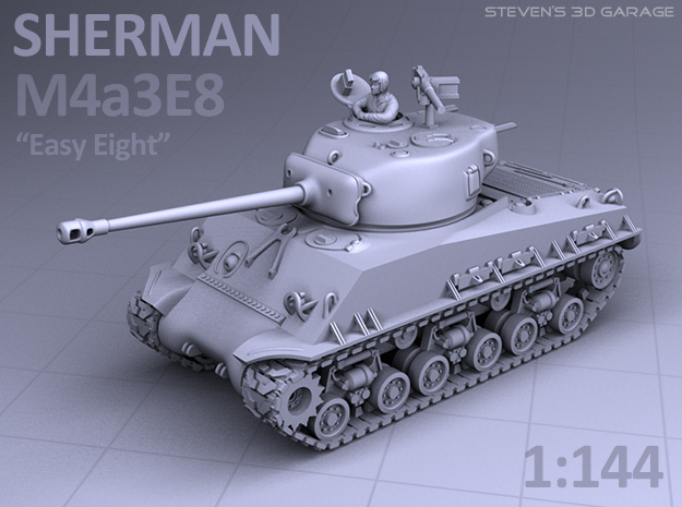 1/144 - Sherman M4A3E8 Tank in Smooth Fine Detail Plastic