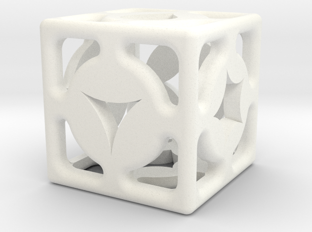 D6 Shape Die in White Processed Versatile Plastic