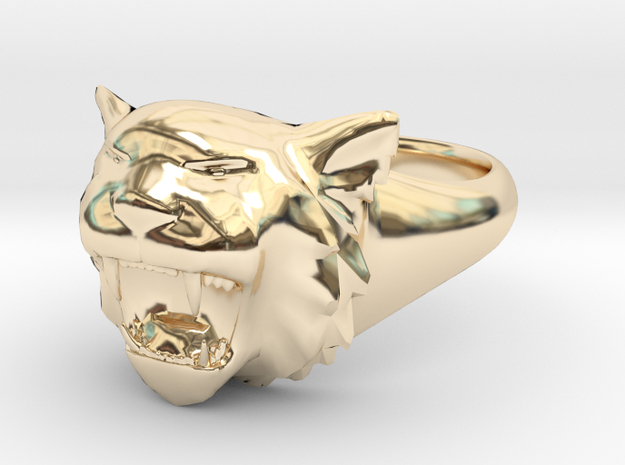 Awesome Tiger Ring Size 6 in 14K Yellow Gold