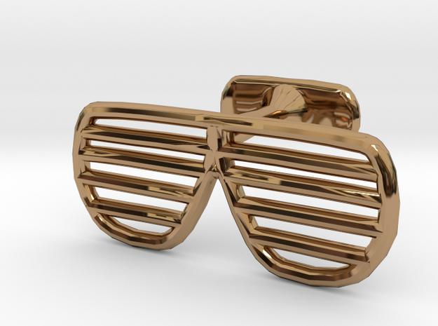 Sunglasses Cufflink in Polished Brass