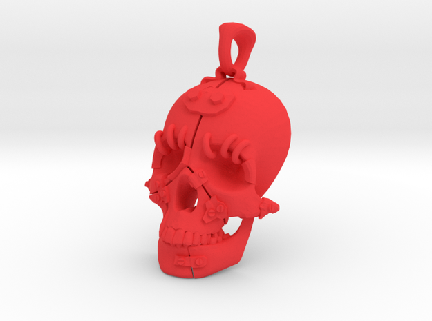 "The ""Fractured Skull"" pendant large in Red Processed Versatile Plastic"