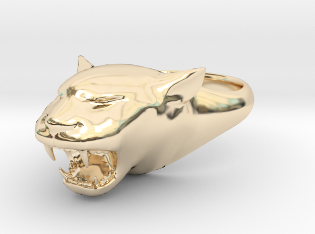 Cougar-Puma Ring , Mountain lion Ring Size 9  in 14K Yellow Gold