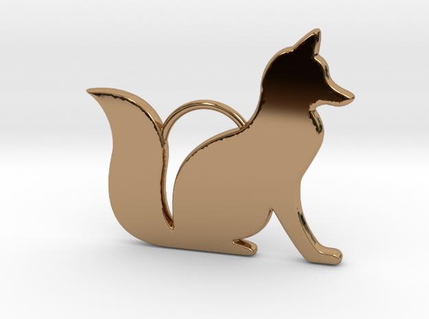 Sitting Fox in Polished Brass