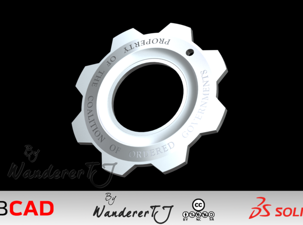 Gears of War Cog Tag v2 in Stainless Steel