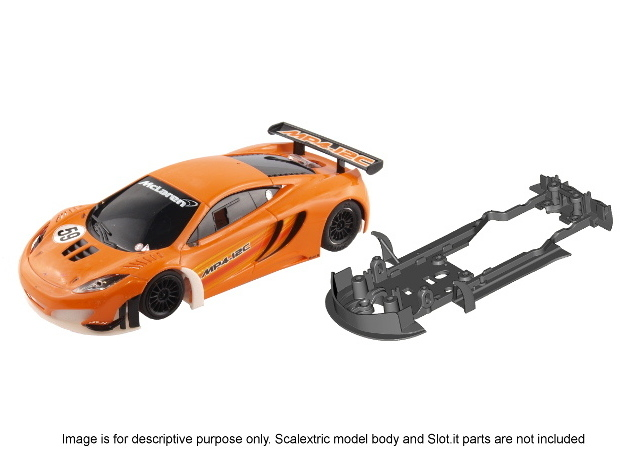 S09-ST1 Chassis for Scalextric McLaren GT3 STD/LMP in White Processed Versatile Plastic