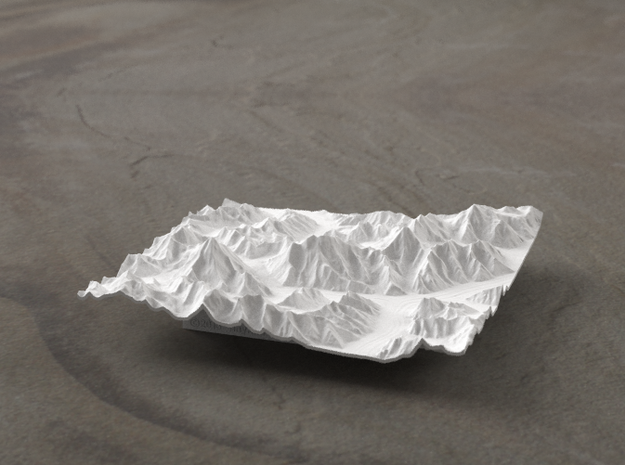 4''/10cm Baltoro Glacier and K2, WSF 3d printed Radiance rendering from the West, looking up the Baltoro to Gasherbrum IV