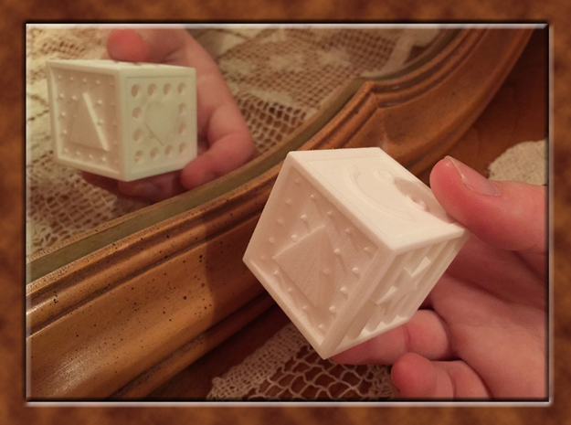 ONE Shape And Texture Dice in White Strong & Flexible Polished